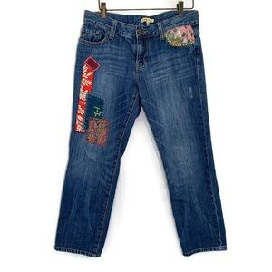 CAbi boyfriend distressed patchwork boho jeans